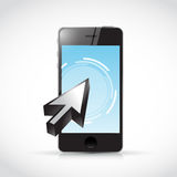 Phone touchscreen and cursor illustration. Design over a white background Stock Image
