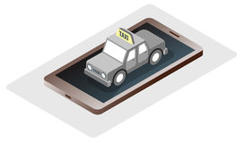 Phone trip taxi isomatric online booking vector Royalty Free Stock Photography