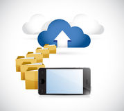 Phone uploading info to cloud. cloud computing Stock Photo