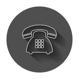 Phone vector icon. Old vintage telephone symbol illustration wit Stock Photography