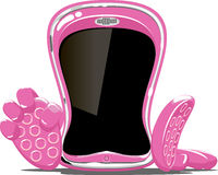 Phone. Vector illustration of pink mobile phone Royalty Free Stock Photos