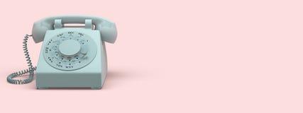 Phone vintage on pink background. 3d rendering Stock Image