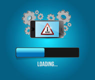 Phone virus reparation update. smartphone concept. Illustration design over a blue background Stock Images