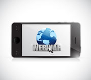 Phone and webinar sign illustration design Stock Photos