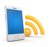Phone with Wi-Fi. Electronics and technologies metaphor. Separated on white Royalty Free Stock Photography