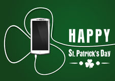 Phone wire bent in the shape of a clover. Happy St. Patricks Day Royalty Free Stock Photo