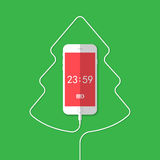Phone, wire, Christmas tree, clock Stock Photography