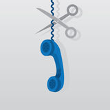 Phone Wire Cut Scissors Royalty Free Stock Photography