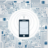 Phone, wireless wave and electronics circuit. Electronics circuit background. Phone with antenna with wave emissions Stock Photo