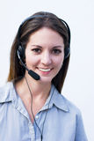 Phone woman. Operator working answering calls Royalty Free Stock Image