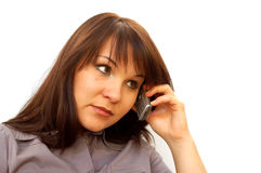 Phone woman #5. Businesswoman with mobile phone on white background Royalty Free Stock Photo