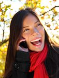 Phone woman outdoors Stock Photography