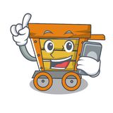 With phone wooden trolley character cartoon. Vector illustration royalty free illustration