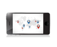 Phone world email communication illustration. Design over a white background Royalty Free Stock Image