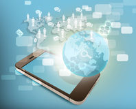 Phone and world map with icons of people, the Royalty Free Stock Images