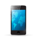 Phone with a world map. illustration design Stock Photos