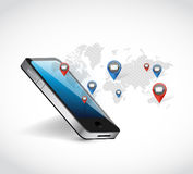Phone world map network communication illustration Stock Photo