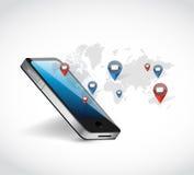 Phone world map network communication illustration. Design over a white background stock photo