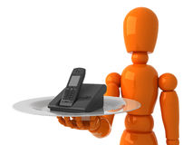 Phone for you. Orangt mannequin with black phone Royalty Free Stock Images