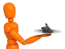 Phone for you. Orange mannequin with black phone Royalty Free Stock Image