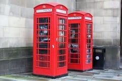 Phoneboxes rojo Imagen de archivo libre de regalías
