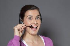 phonecall excited женского оператора телефона приветствующее Стоковые Фото