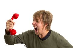Phonecall. Yelling in the telephone cal Royalty Free Stock Photography