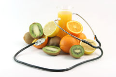 Phonedoscope and juice Stock Photography