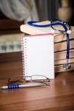 Phonendoscope. medical records, books Stock Images