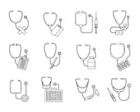Phonendoscope stethoscope icons set, outline style. Phonendoscope stethoscope icons set. Outline illustration of 12 phonendoscope stethoscope icons for web royalty free illustration