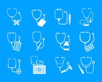 Phonendoscope stethoscope icons set, simple style. Phonendoscope stethoscope icons set. Somple illustration of 12 phonendoscope stethoscope vector icons for web stock illustration