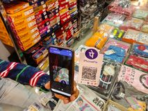 phonepe application bar code displayed on cloth store in India Dec 2019
