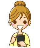 phones att fungera för kvinnor Royaltyfri Foto
