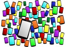 Phones background - cdr format. Background made from colored smartphones vector illustration