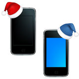 Phones With Caps Of Santa Claus. Vector Royalty Free Stock Photography