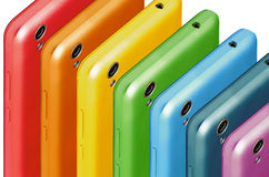 Phones the colors of the rainbow royalty free stock photography