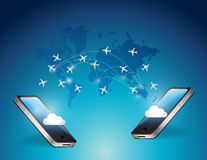Phones connected. international travel airplanes Stock Photos