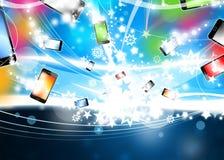 phones det färgrika flyget för bakgrund xmas Royaltyfri Foto