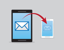 Phones Email Send Arrow. Phones sending email with red arrow Stock Illustration