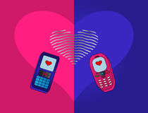 Phones-enamoured Royalty Free Stock Photography