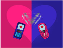 Phones enamoured Royalty Free Stock Photo