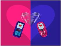 Phones enamoured Royalty Free Stock Photo