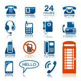 Phones and fax icon set. Set of phones and fax icons Royalty Free Stock Photography