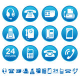 Phones and fax icons. Set of phones and fax icons Stock Photos