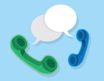 Phones Floating Speech Bubbles Stock Photo