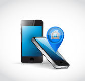Phones and home locator illustration design Royalty Free Stock Images