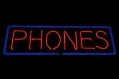 Phones Neon Sign Royalty Free Stock Photos
