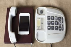 Phones old and modern Royalty Free Stock Photos