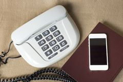 Phones old and modern Royalty Free Stock Image