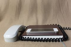 Phones old and modern Royalty Free Stock Photography